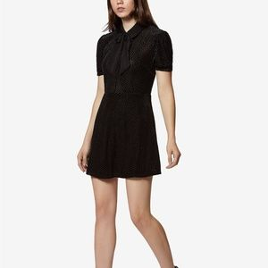 Avec Les Filles Burnout Velvet Dot Black Dress M